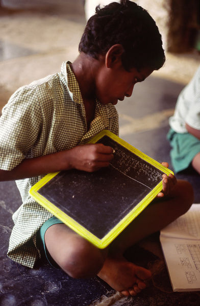 schoolboy in a class in Hydrabad