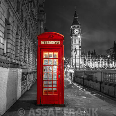 Evening view of telephone booth with Big Ben, London