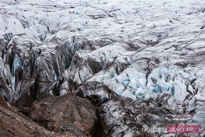 Hikers on a glacier in south Iceland