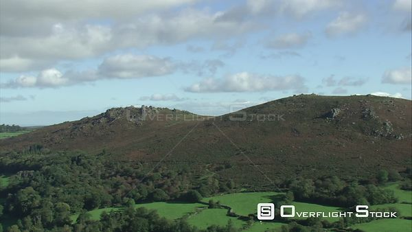 Aerial view of Chinkwell and Honeybag tors, Dartmoor National Park, Devon, England, UK, October 2015.