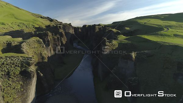 Fjadragljufur Glacial River Canyon Iceland, Morning Light Drone Aerial