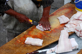 Detail of fisherman filleting a shark in fishing docks, Arica, Region XV, Chile