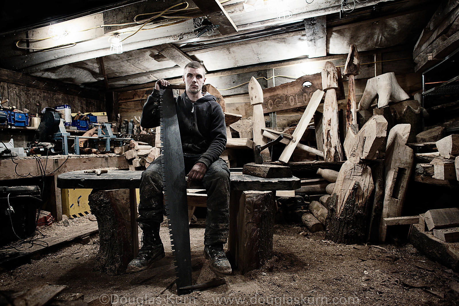 February 19th - Dan the tree surgeon in his workshop in Pirbright, Surrey