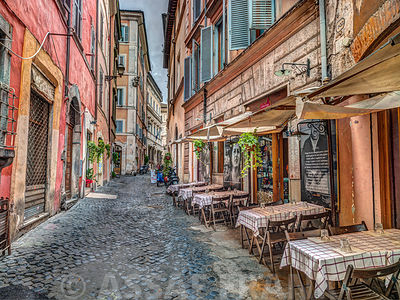 Coffee shop on narrow street of Rome, Italy
