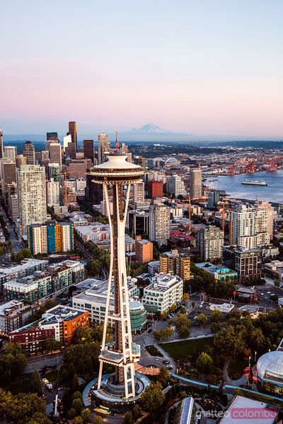 Aerial view of The Space Needle and skyline, Seattle