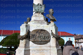 Detail of monument to Dr Manuel Pino and War of the Pacific victims, Plaza Pino, Puno, Peru