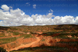 Red soil and river valleys that are the headwaters of the Pilcomayo river, Potosí Department, Bolivia
