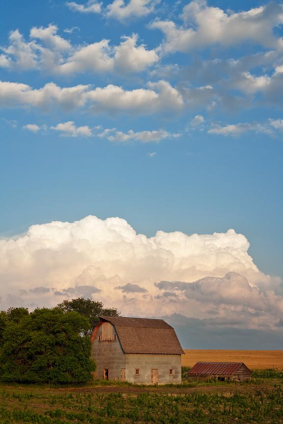 Nebraska Barn and Storm Clouds #2