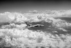 Vulcan and towering clouds BW version