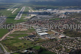 Manchester aerial photograph of Manchester Airport showing  Terminal buildings and runways  and Ringway Trading Estate and  t...