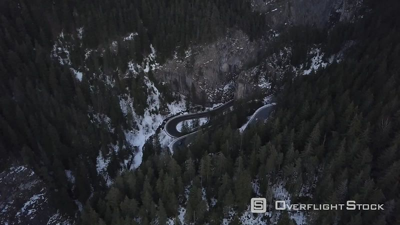 The Curved Mountain Roads of Bicaz Gorges, Filmed by Drone in Winter, Moldavia, Romania