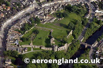 aerial photograph of  Barnard Castle County Durham  England UK
