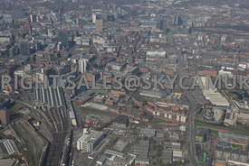 Manchester wide angle view of Piccadilly Railway Station and Piccadilly Basin looking in towards the Northern Quarter and Pic...