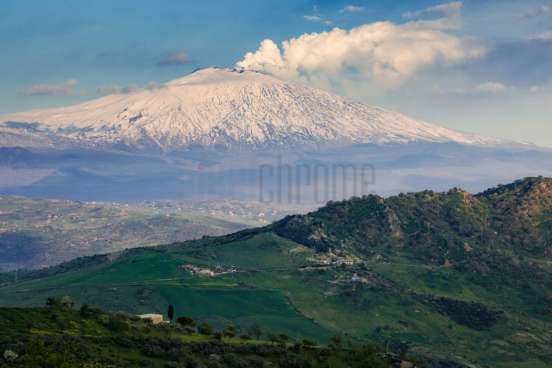View of Mt Etna Heading East from Cesaro