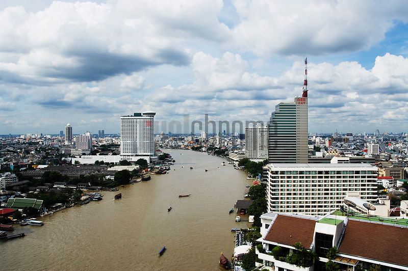Bangkok Skyline on the Chao Phraya River, Thailand