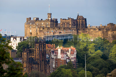 Iconic Edinburgh Castle towering over the Edinburgh skyline.