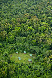 Aerial view of Iwokrama Lodge in the rainforest, Iwokrama Reserve, Guyana, December 2009