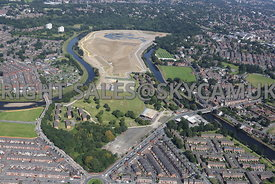 Enviromental Agency construction of new flood defence scheme Castle Irwell Salford Manchester