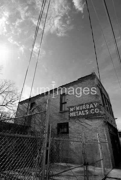Artistic B&W image of McMurray Metals Company in Deep Ellum area of Dallas, Texas