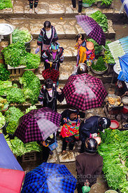 Sapa Market Area on Rainy Day