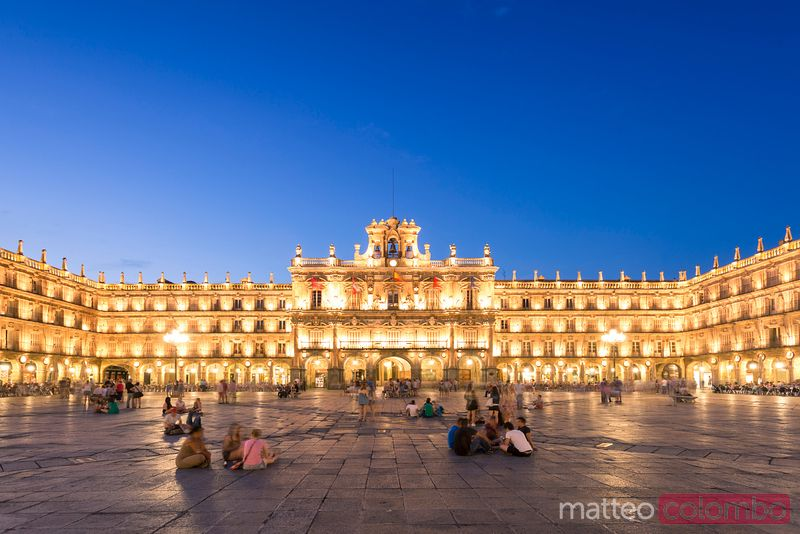 Plaza Mayor at night, Salamanca, Spain