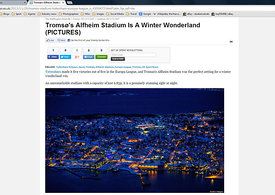 Huffington Post UK website - Tromso's Alfheim Stadium is a winter wonderland 29 November 2013.4295677 - Steven Paston
