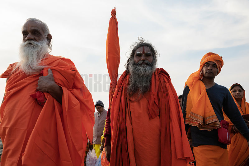 Devotees Return from a Dip at the Sangam