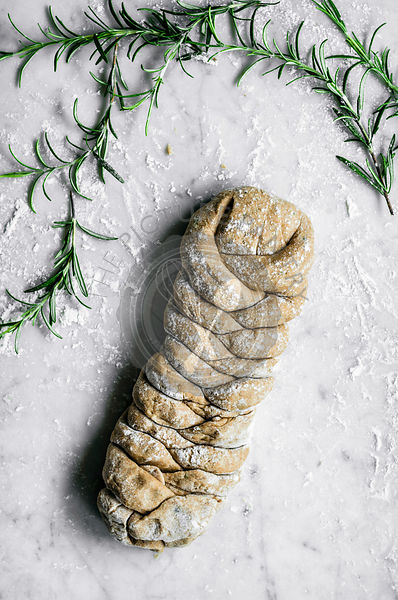 Rosemary, garlic, and olive oil plaited rye bread