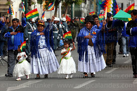Mining trade union members and their children during Independence Day parades, La Paz, Bolivia