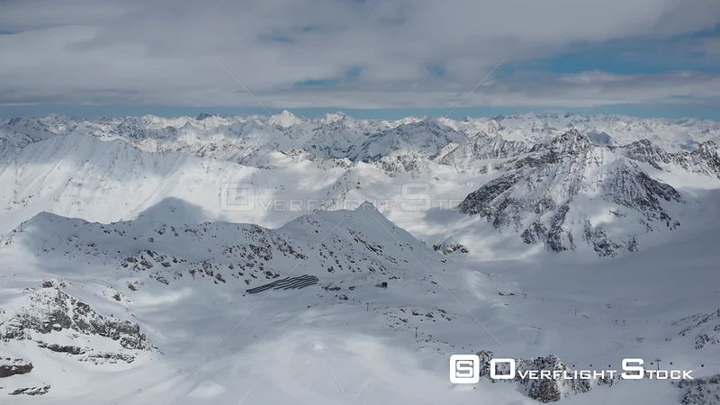 Aerial shot of Alps over Pitztal glacier and ski resort in Tyrol, Austria