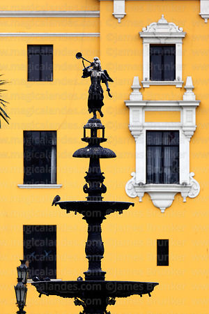 Fountain in centre of Plaza de Armas, Lima, Peru