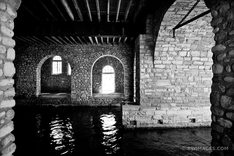 BOATHOUSE ROCK ISLAND STATE PARK WISCONSIN BLACK AND WHITE