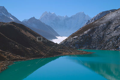 NEPAL Gokyo Peak -- The third lake at Gokyo with Mount Thamserku and Mount Kangtega in the background