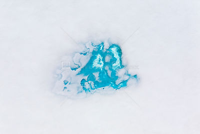 Aerial view of meltwater on glacier, South Georgia, Antarctica, December 2006
