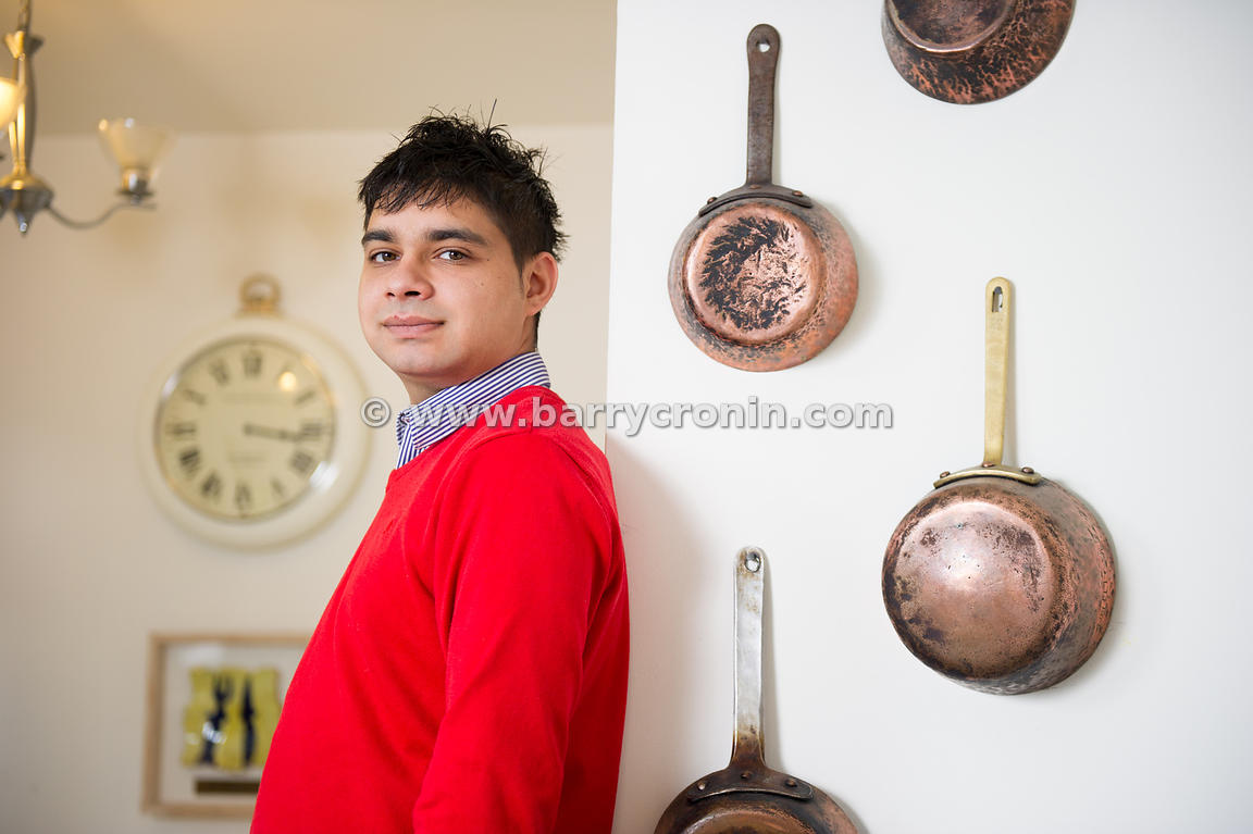 26th August, 2014.Chef and author Peter Clifford photographed beside his late father Michael's personalised pots and pans (Mi...