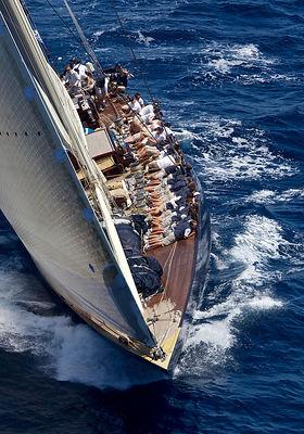 Crew hiking-out on board J-class yacht 'Velsheda' on the second day of the Superyacht Cup, Palma, Majorca, Spain, June 2013. ...