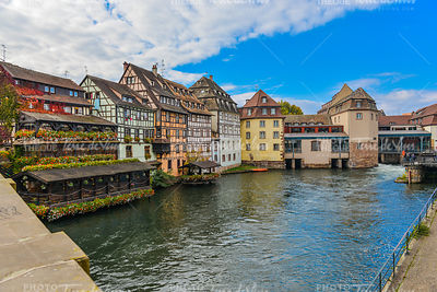 Strasbourg, water canal and nice house in Petite France area.