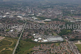 Rochdale high level aerial photograph of the Kingsway retail park looking towards Rochdale town centre