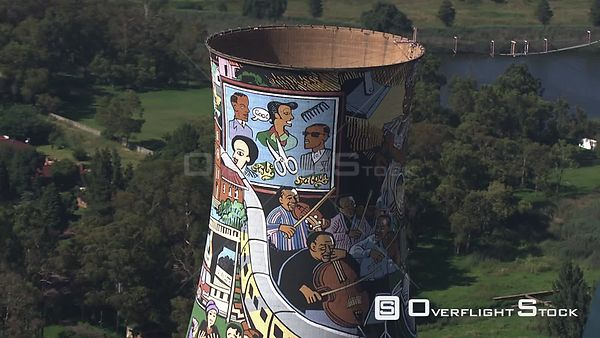 Aerial shot of the Orlando Towers in Soweto, Johannesburg Johannesburg Gauteng South Africa