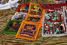 Locally made weavings for sale , Uros floating reed islands , Peru