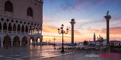 Panoramic of St Marks square at sunrise, Venice