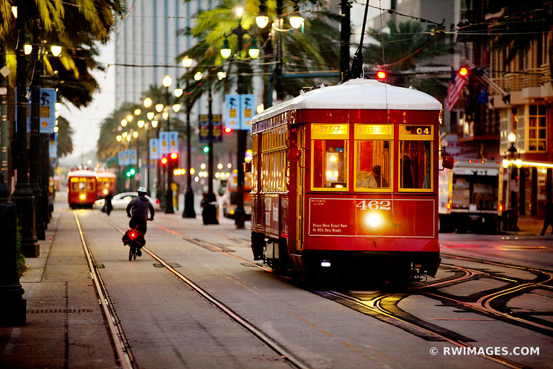 STREETCAR CANAL STREET NEW ORLEANS LOUISIANA COLOR