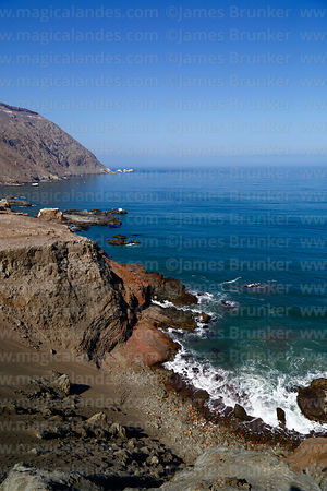 View looking south to Punta Camarones from headland above Bahia Camarones, Region XV, Chile