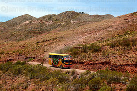 Local bus on road through Torotoro National Park, Bolivia