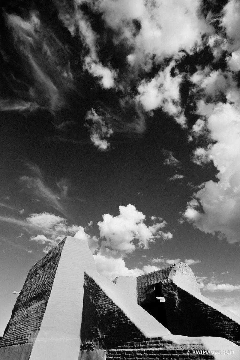 PUEBLO RUINS PECOS NATIONAL HISTORICAL PARK NEW MEXICO BLACK AND WHITE VERTICAL