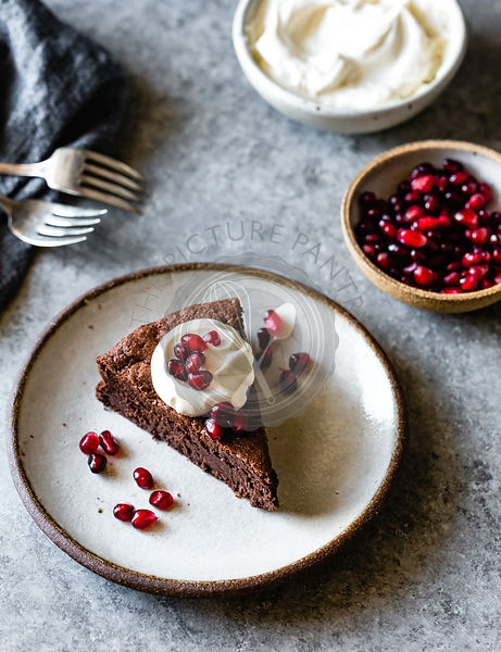 Chocolate cake with pomegranate