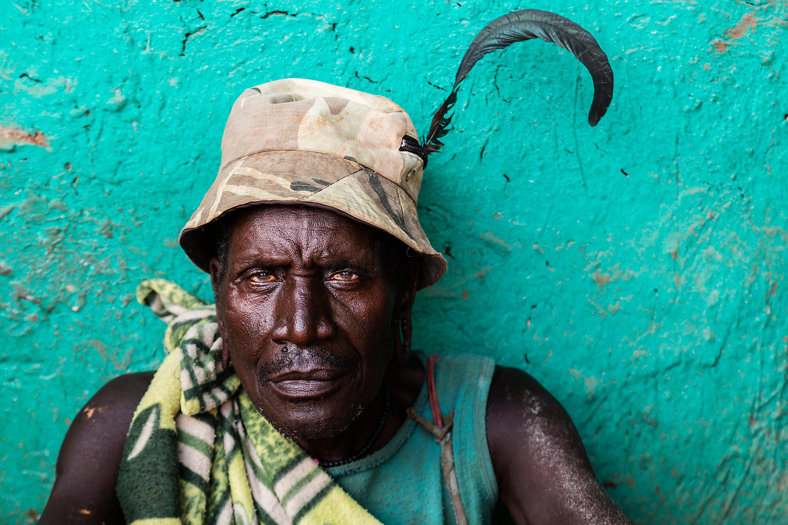 Portrait of a Surma Man with a Feather in his Hat