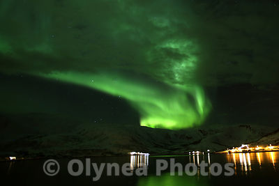 Northern Lights with a landscape of fjord
