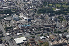 Rochdale high level aerial photograph over looking the town centre from north towards the south