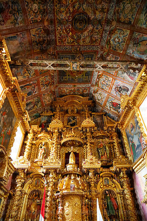 Main altar and painted wooden ceiling of Church of the Immaculate Conception, Checacupe, Cusco Region, Peru